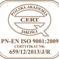 certyfikat jakości PN-EN ISO 9001:2009