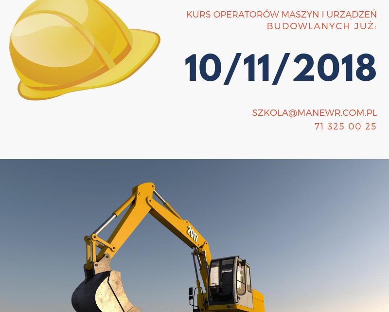 Nowy kurs operatorów maszyn i urządzeń budowlanych